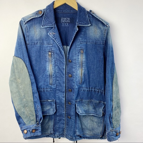 Zara distressed long jean jacket with suede detail